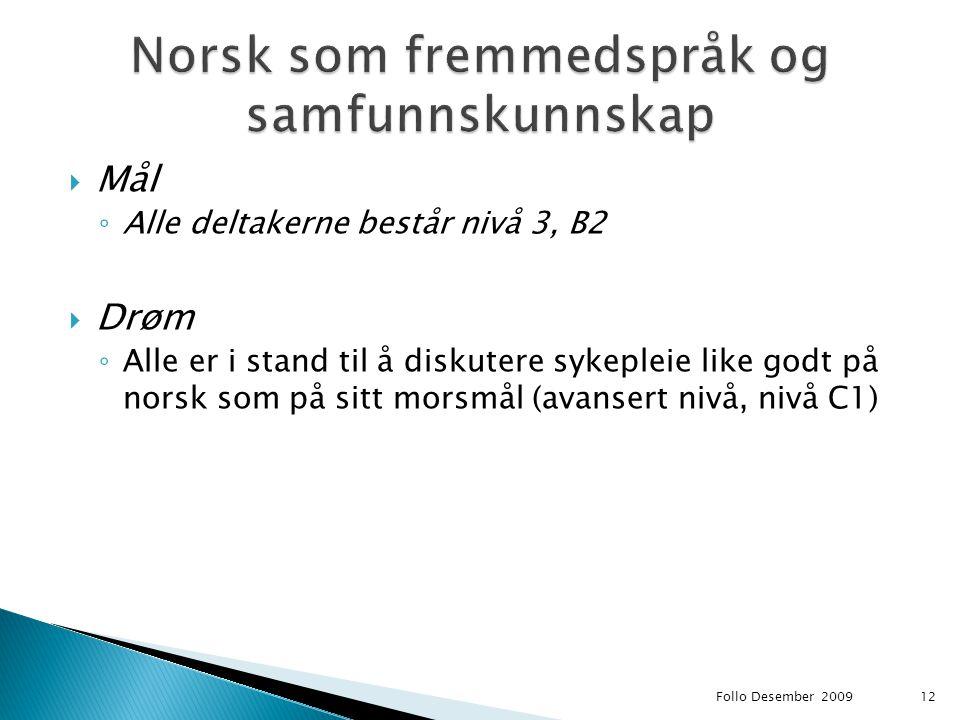  Mål ◦ Alle deltakerne består nivå 3, B2  Drøm ◦ Alle er i stand til å diskutere sykepleie like godt på norsk som på sitt morsmål (avansert nivå, ni