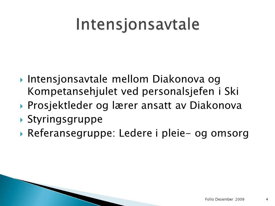  Intensjonsavtale mellom Diakonova og Kompetansehjulet ved personalsjefen i Ski  Prosjektleder og lærer ansatt av Diakonova  Styringsgruppe  Refer
