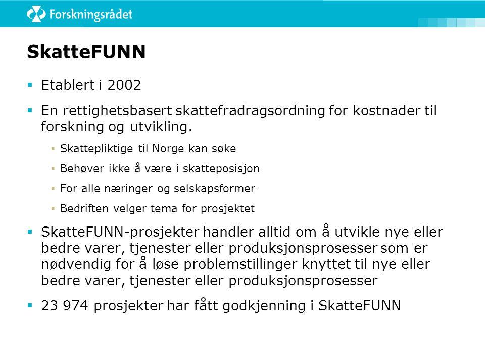 SkatteFUNN  Etablert i 2002  En rettighetsbasert skattefradragsordning for kostnader til forskning og utvikling.  Skattepliktige til Norge kan søke