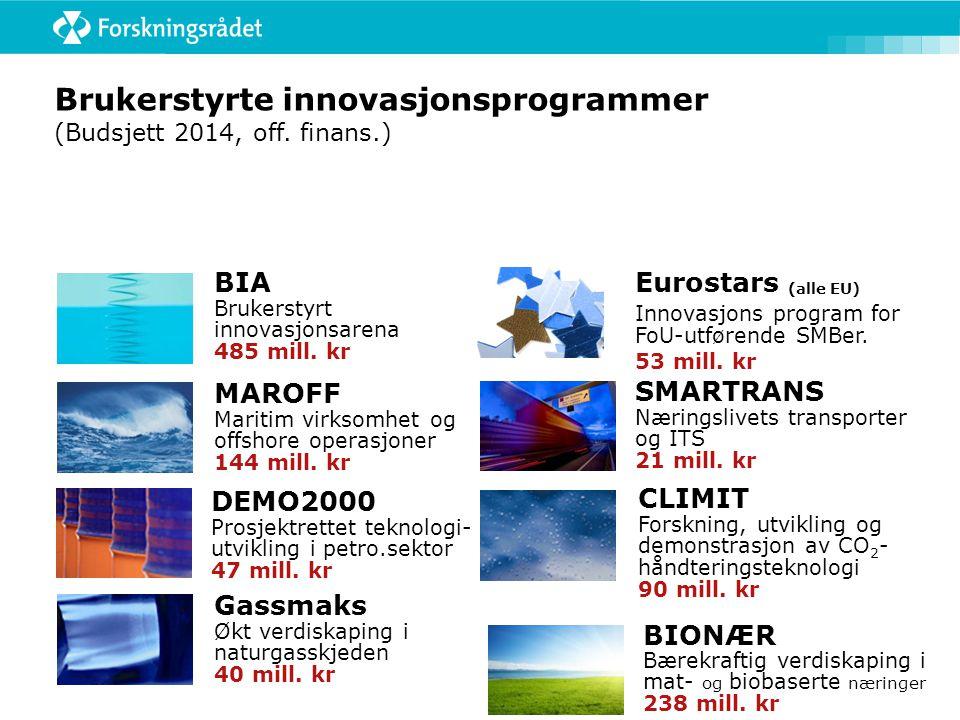 Brukerstyrte innovasjonsprogrammer (Budsjett 2014, off. finans.) BIONÆR Bærekraftig verdiskaping i mat- og biobaserte næringer 238 mill. kr SMARTRANS