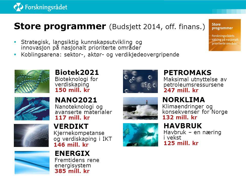 Store programmer (Budsjett 2014, off. finans.) VERDIKT Kjernekompetanse og verdiskaping i IKT 146 mill. kr  Strategisk, langsiktig kunnskapsutvikling