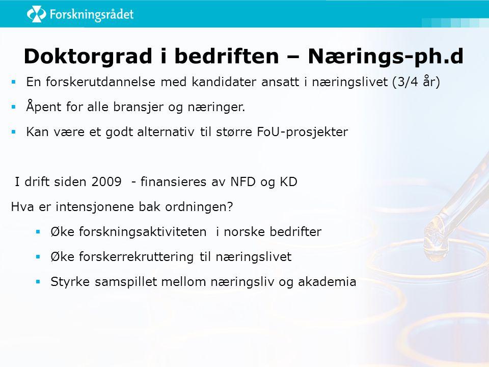Doktorgrad i bedriften – Nærings-ph.d  En forskerutdannelse med kandidater ansatt i næringslivet (3/4 år)  Åpent for alle bransjer og næringer.  Ka