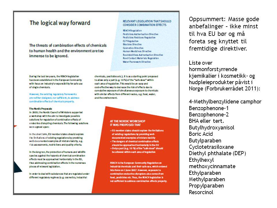 Oppsummert: Masse gode anbefalinger – ikke minst til hva EU bør og må foreta seg knyttet til fremtidige direktiver. Liste over hormonforstyrrende kjem
