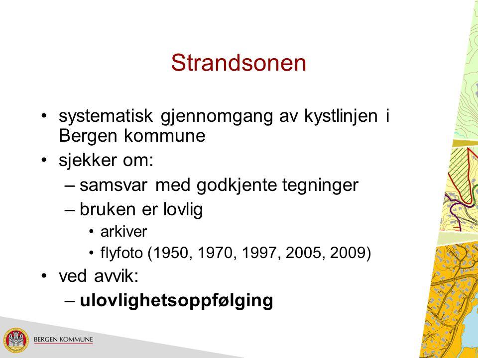 Strandsonen systematisk gjennomgang av kystlinjen i Bergen kommune sjekker om: –samsvar med godkjente tegninger –bruken er lovlig arkiver flyfoto (195