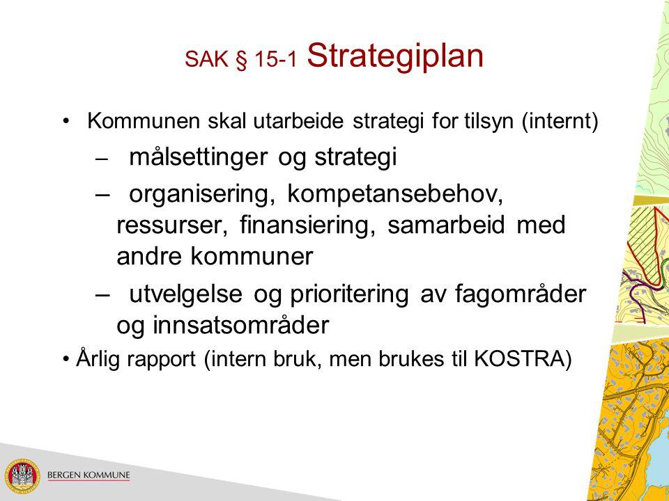 SAK § 15-1 Strategiplan Kommunen skal utarbeide strategi for tilsyn (internt) – målsettinger og strategi –organisering, kompetansebehov, ressurser, fi