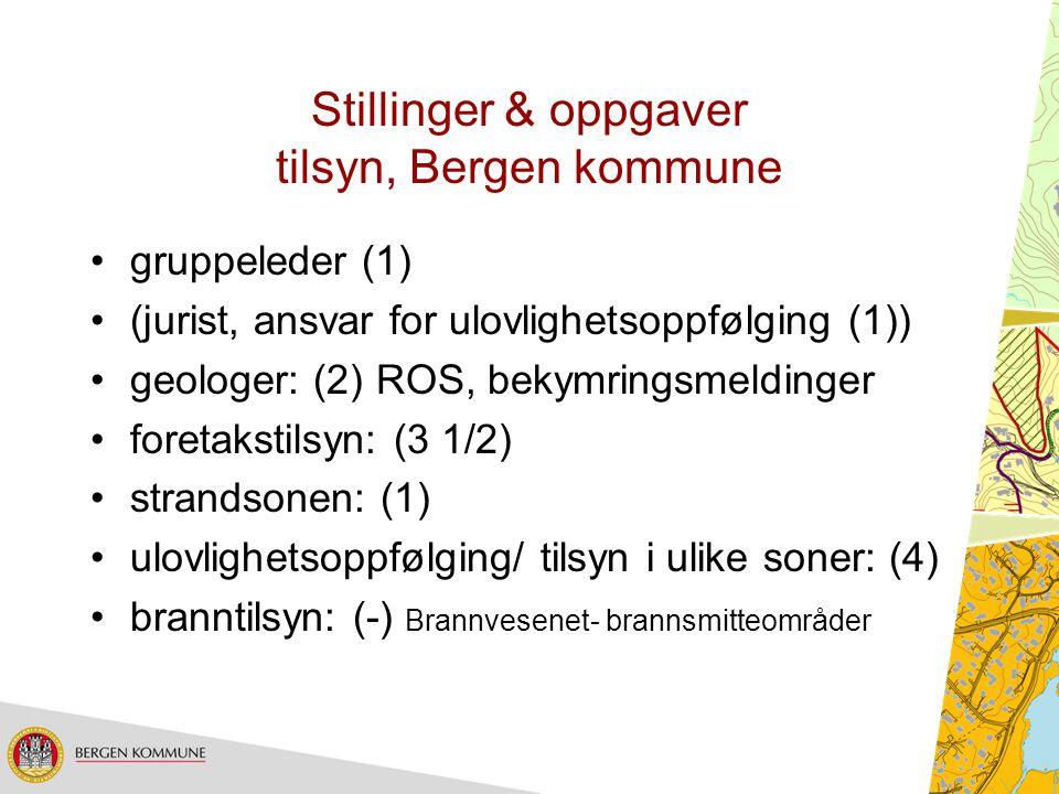 Stillinger & oppgaver tilsyn, Bergen kommune gruppeleder (1) (jurist, ansvar for ulovlighetsoppfølging (1)) geologer: (2) ROS, bekymringsmeldinger for