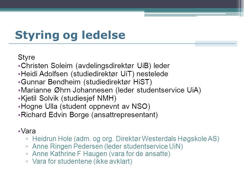 Styring og ledelse Styre Christen Soleim (avdelingsdirektør UiB) leder Heidi Adolfsen (studiedirektør UiT) nestelede Gunnar Bendheim (studiedirektør H