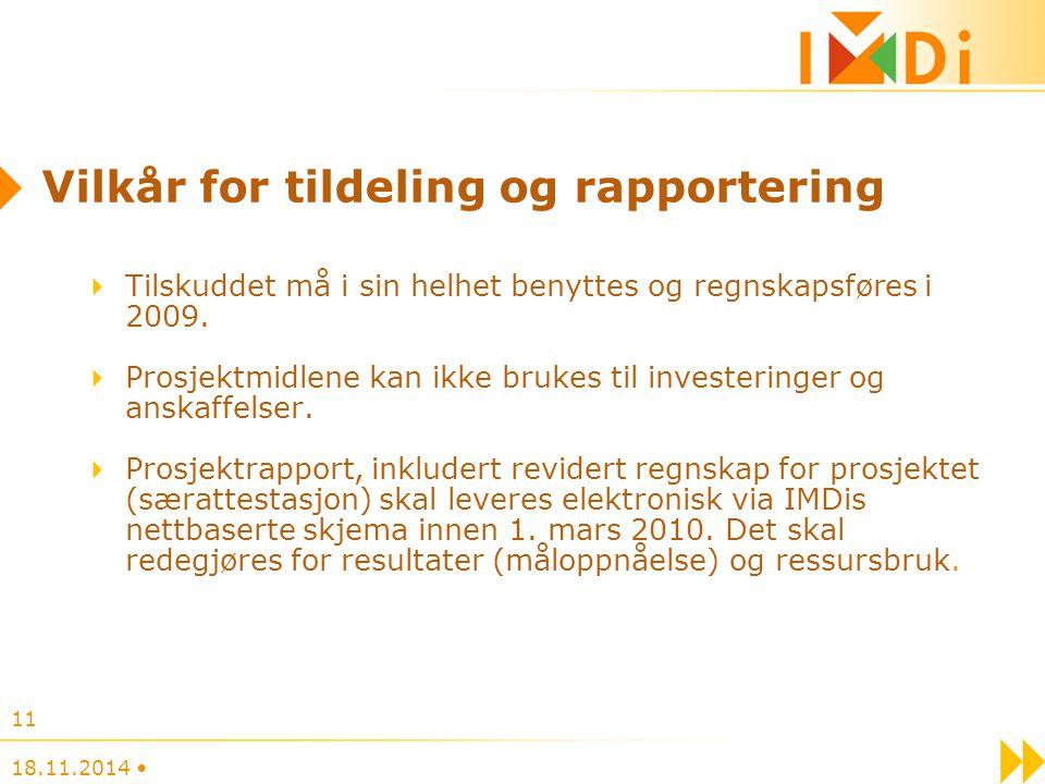 Vilkår for tildeling og rapportering Tilskuddet må i sin helhet benyttes og regnskapsføres i 2009. Prosjektmidlene kan ikke brukes til investeringer o