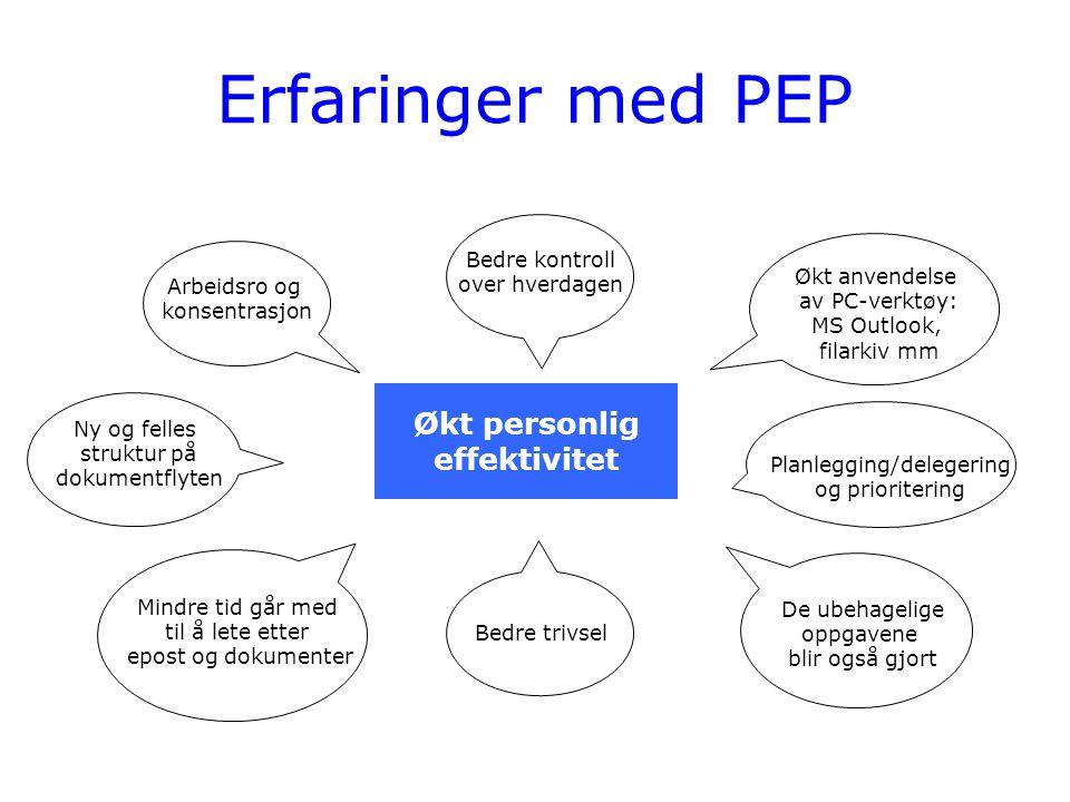 Erfaringer med PEP Økt personlig effektivitet Arbeidsro og konsentrasjon Bedre kontroll over hverdagen Økt anvendelse av PC-verktøy: MS Outlook, filar