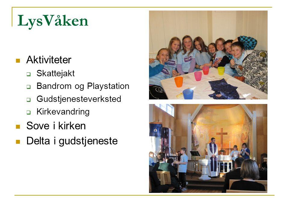 LysVåken Aktiviteter  Skattejakt  Bandrom og Playstation  Gudstjenesteverksted  Kirkevandring Sove i kirken Delta i gudstjeneste