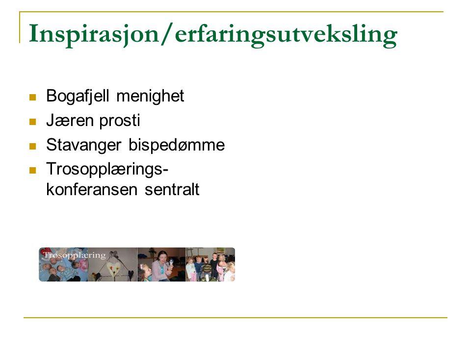 Inspirasjon/erfaringsutveksling Bogafjell menighet Jæren prosti Stavanger bispedømme Trosopplærings- konferansen sentralt