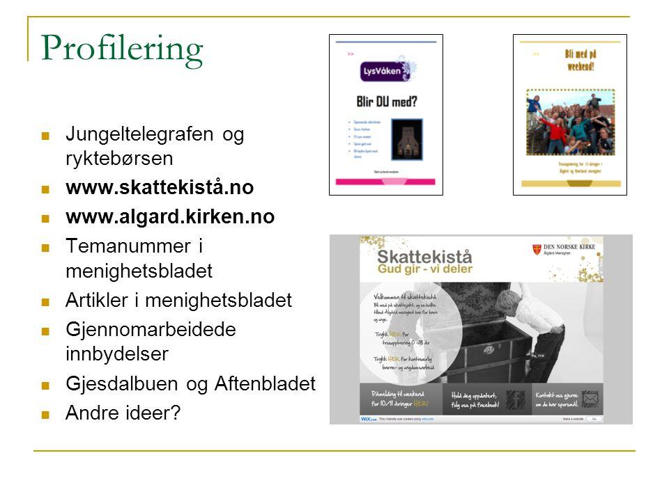 Profilering Jungeltelegrafen og ryktebørsen www.skattekistå.no www.algard.kirken.no Temanummer i menighetsbladet Artikler i menighetsbladet Gjennomarb