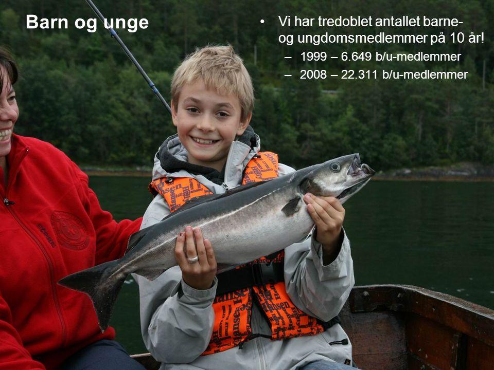 Noen tall rundt barn og unge Vi deler ut 145.000 gratis fiskestenger i perioden 2002-2010 NJFF hadde i 2008 registrert 2400 arrangementer for barn i regi av våre lokalforeninger x 30 deltagere i snitt = 72.000 unge deltagere.