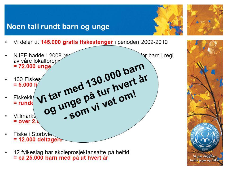 Noen tall rundt barn og unge Vi deler ut 145.000 gratis fiskestenger i perioden 2002-2010 NJFF hadde i 2008 registrert 2400 arrangementer for barn i r