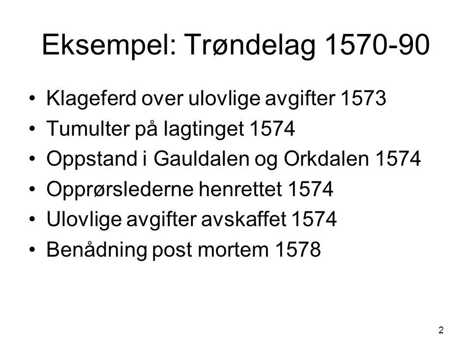 3 Trøndelag 1590-årene Ulovlige skatter og avgifter fra flere fogder Klageferd til kongen 1596 Herredag i Trondheim 1597: Lensherren og fogder avsatt, økonomisk kompensasjon for ulovlig bøtelegging på 1570-tallet