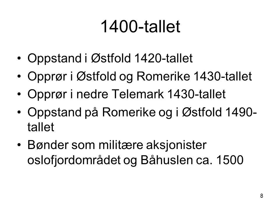 8 1400-tallet Oppstand i Østfold 1420-tallet Opprør i Østfold og Romerike 1430-tallet Opprør i nedre Telemark 1430-tallet Oppstand på Romerike og i Øs