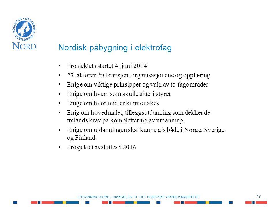 Nordisk påbygning i elektrofag 12 UTDANNING NORD – NØKKELEN TIL DET NORDISKE ARBEIDSMARKEDET Prosjektets startet 4.