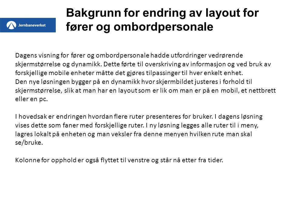 Gammel visning Ny visning Søk Dag / nattvisning og tekststørrelse Ingen store endringer i første bilde som vises for bruker