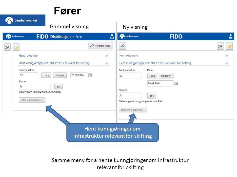 Fører Gammel visning Faner med oversikt over lokalt lagrede ruter.