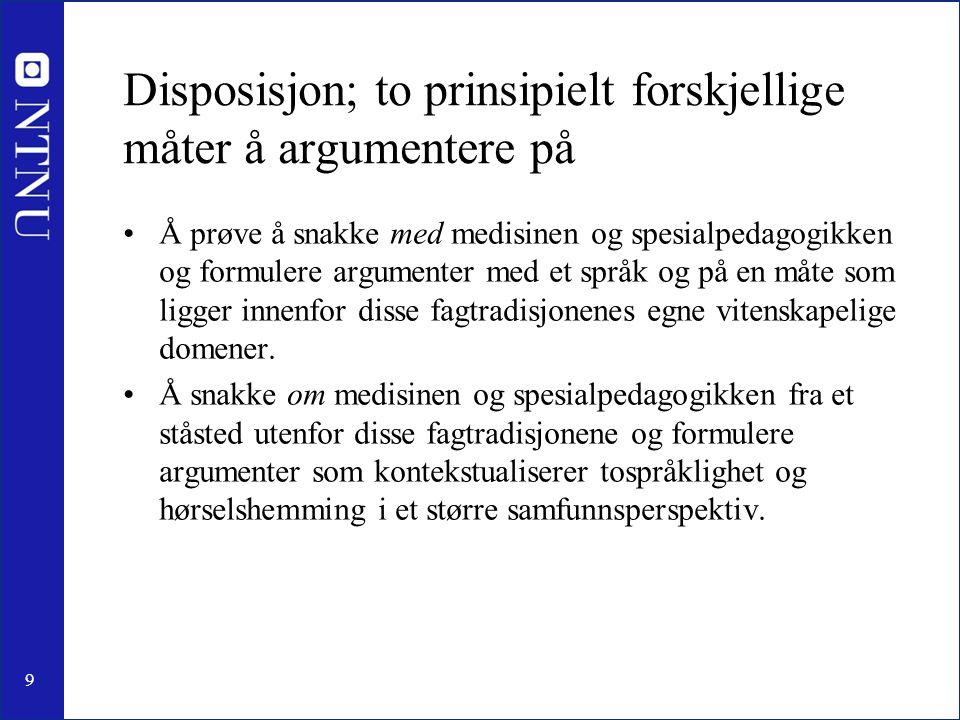 9 Disposisjon; to prinsipielt forskjellige måter å argumentere på Å prøve å snakke med medisinen og spesialpedagogikken og formulere argumenter med et
