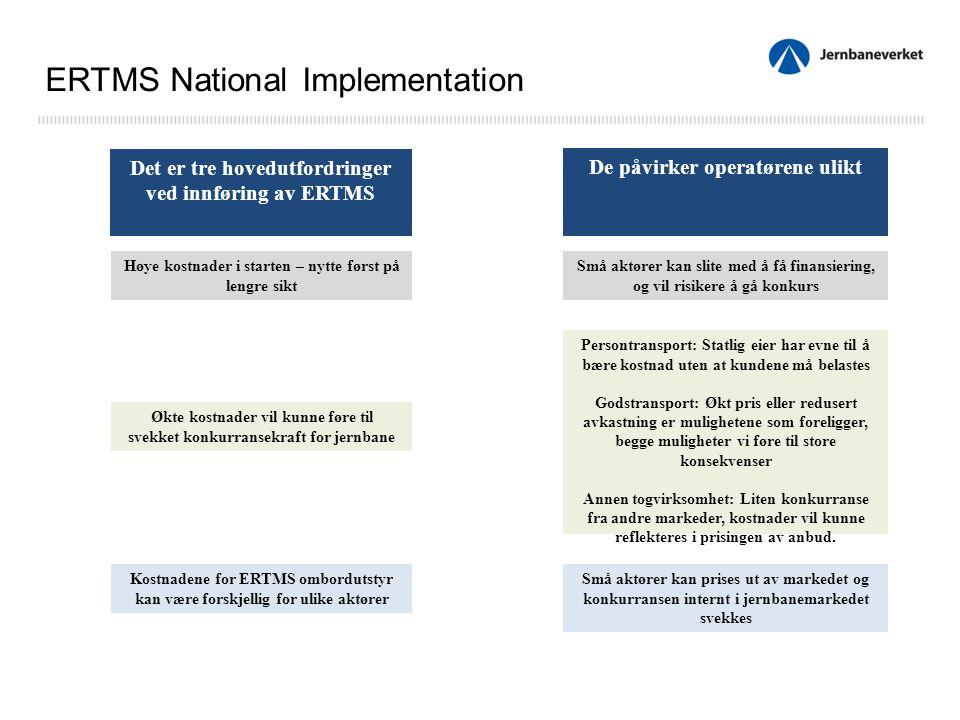 Det er tre hovedutfordringer ved innføring av ERTMS De påvirker operatørene ulikt Høye kostnader i starten – nytte først på lengre sikt Små aktører kan slite med å få finansiering, og vil risikere å gå konkurs Økte kostnader vil kunne føre til svekket konkurransekraft for jernbane Kostnadene for ERTMS ombordutstyr kan være forskjellig for ulike aktører Persontransport: Statlig eier har evne til å bære kostnad uten at kundene må belastes Godstransport: Økt pris eller redusert avkastning er mulighetene som foreligger, begge muligheter vi føre til store konsekvenser Annen togvirksomhet: Liten konkurranse fra andre markeder, kostnader vil kunne reflekteres i prisingen av anbud.