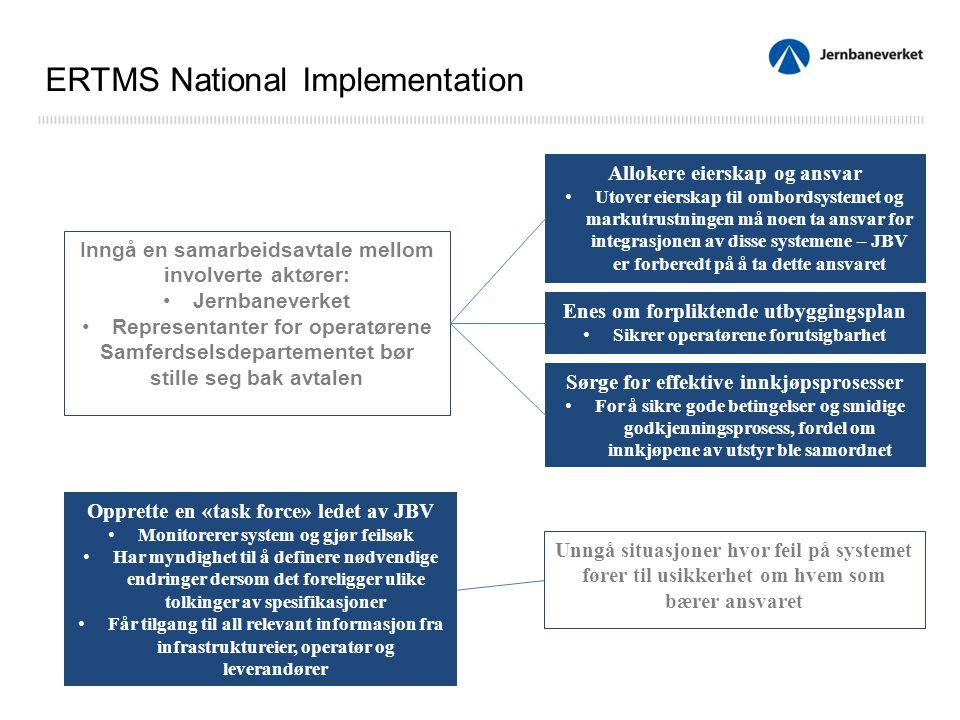 Inngå en samarbeidsavtale mellom involverte aktører: Jernbaneverket Representanter for operatørene Samferdselsdepartementet bør stille seg bak avtalen