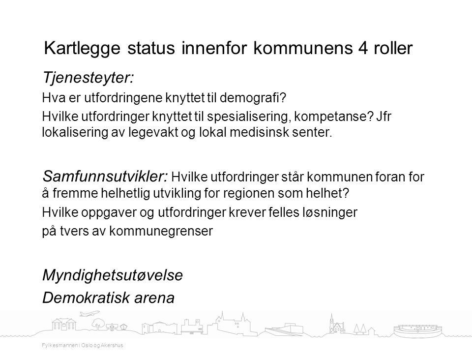 Kartlegge status innenfor kommunens 4 roller Fylkesmannen i Oslo og Akershus Tjenesteyter: Hva er utfordringene knyttet til demografi? Hvilke utfordri