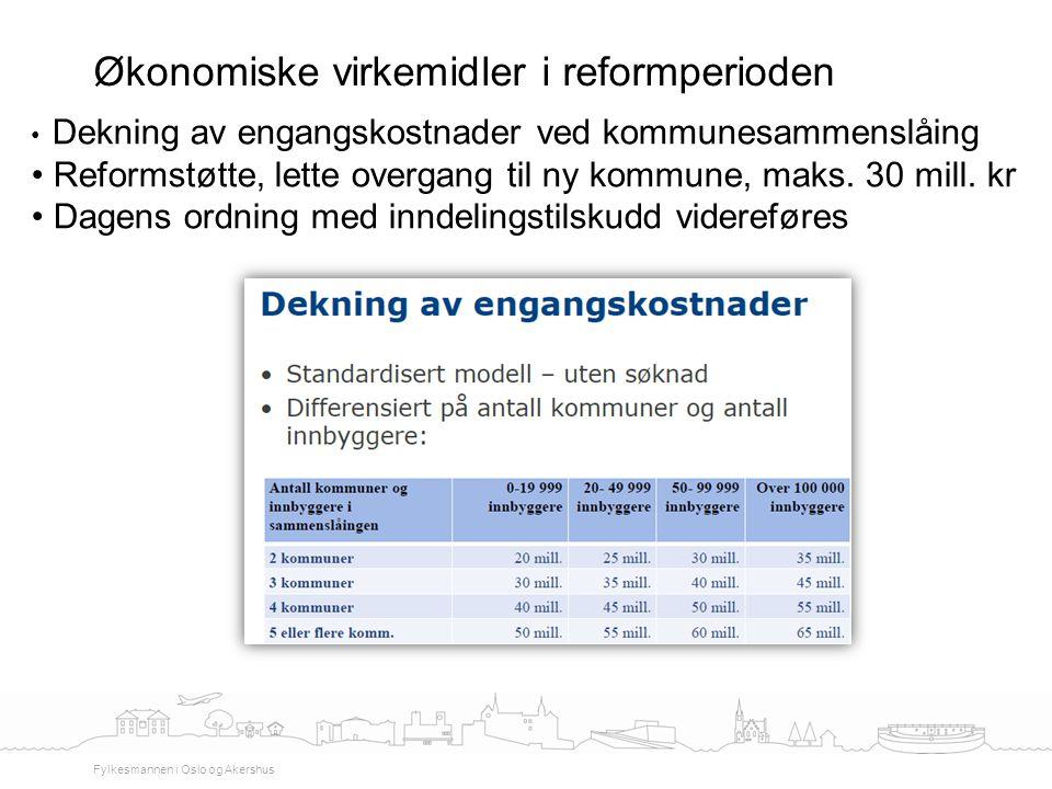 Økonomiske virkemidler i reformperioden Fylkesmannen i Oslo og Akershus Dekning av engangskostnader ved kommunesammenslåing Reformstøtte, lette overga