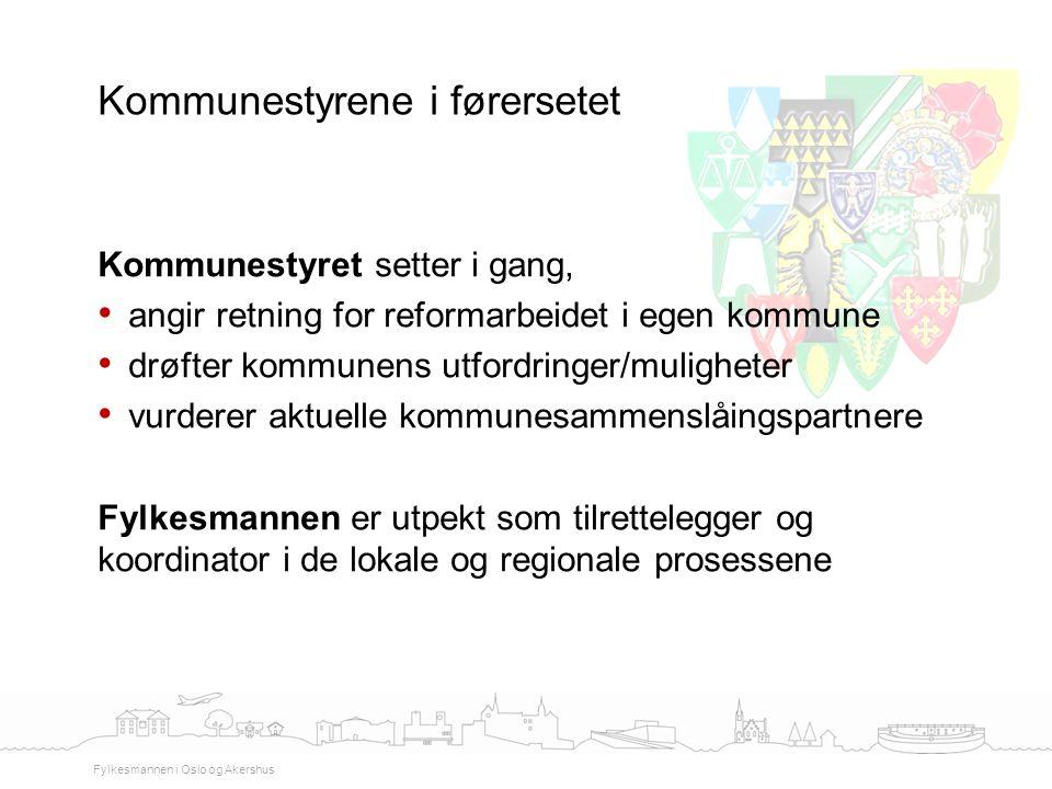 Kommunestyret setter i gang, angir retning for reformarbeidet i egen kommune drøfter kommunens utfordringer/muligheter vurderer aktuelle kommunesammen