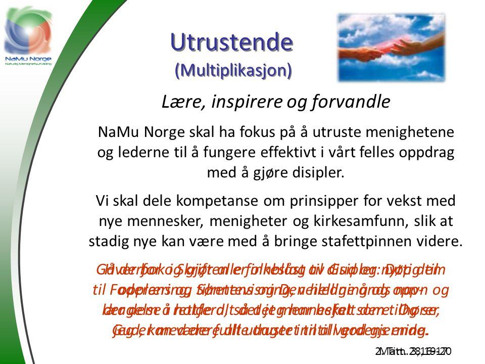 Utrustende Lære, inspirere og forvandle NaMu Norge skal ha fokus på å utruste menighetene og lederne til å fungere effektivt i vårt felles oppdrag med