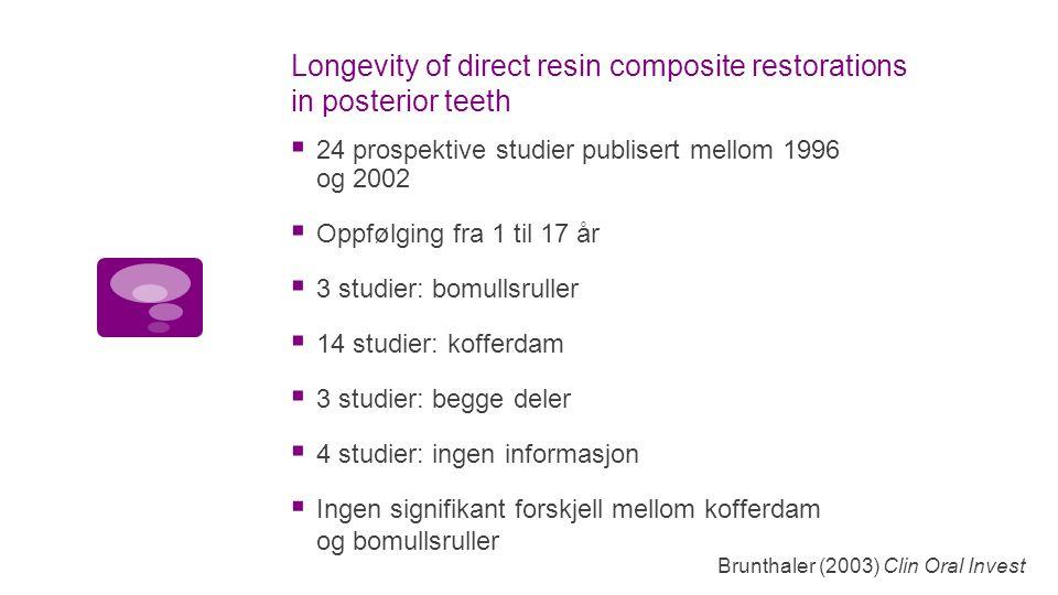 Longevity of direct resin composite restorations in posterior teeth  24 prospektive studier publisert mellom 1996 og 2002  Oppfølging fra 1 til 17 år  3 studier: bomullsruller  14 studier: kofferdam  3 studier: begge deler  4 studier: ingen informasjon Brunthaler (2003) Clin Oral Invest  Ingen signifikant forskjell mellom kofferdam og bomullsruller