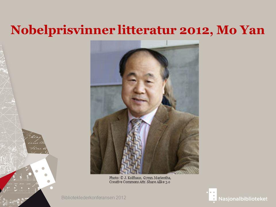 Photo: © J. Kolfhaus, Gymn. Marientha, Creative Commons Attr. Share Alike 3.0 Nobelprisvinner litteratur 2012, Mo Yan