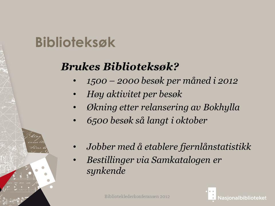 Biblioteksøk Brukes Biblioteksøk? 1500 – 2000 besøk per måned i 2012 Høy aktivitet per besøk Økning etter relansering av Bokhylla 6500 besøk så langt