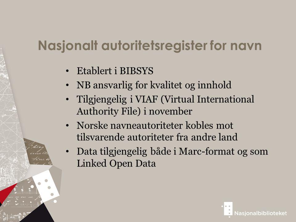Nasjonalt autoritetsregister for navn Etablert i BIBSYS NB ansvarlig for kvalitet og innhold Tilgjengelig i VIAF (Virtual International Authority File