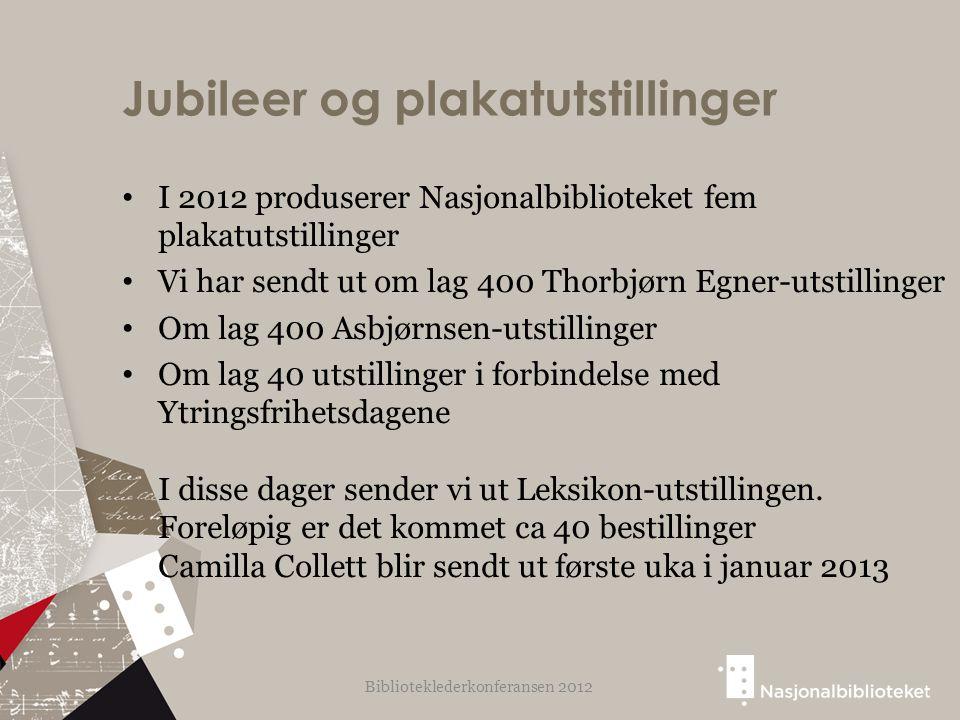 Jubileer og plakatutstillinger I 2012 produserer Nasjonalbiblioteket fem plakatutstillinger Vi har sendt ut om lag 400 Thorbjørn Egner-utstillinger Om lag 400 Asbjørnsen-utstillinger Om lag 40 utstillinger i forbindelse med Ytringsfrihetsdagene I disse dager sender vi ut Leksikon-utstillingen.