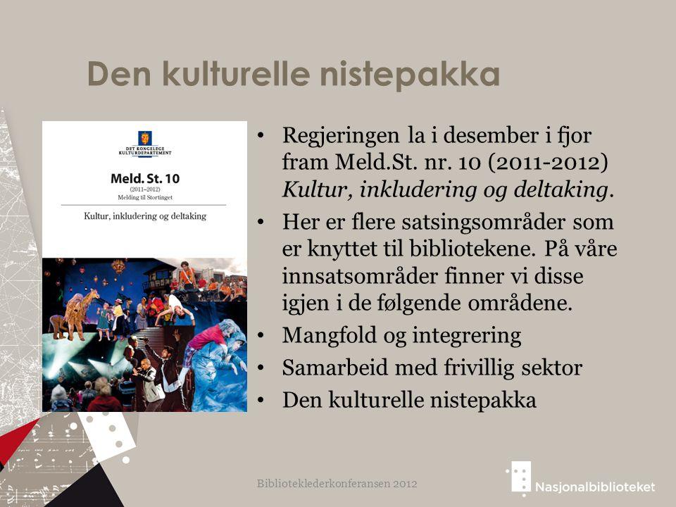 Den kulturelle nistepakka Regjeringen la i desember i fjor fram Meld.St. nr. 10 (2011-2012) Kultur, inkludering og deltaking. Her er flere satsingsomr