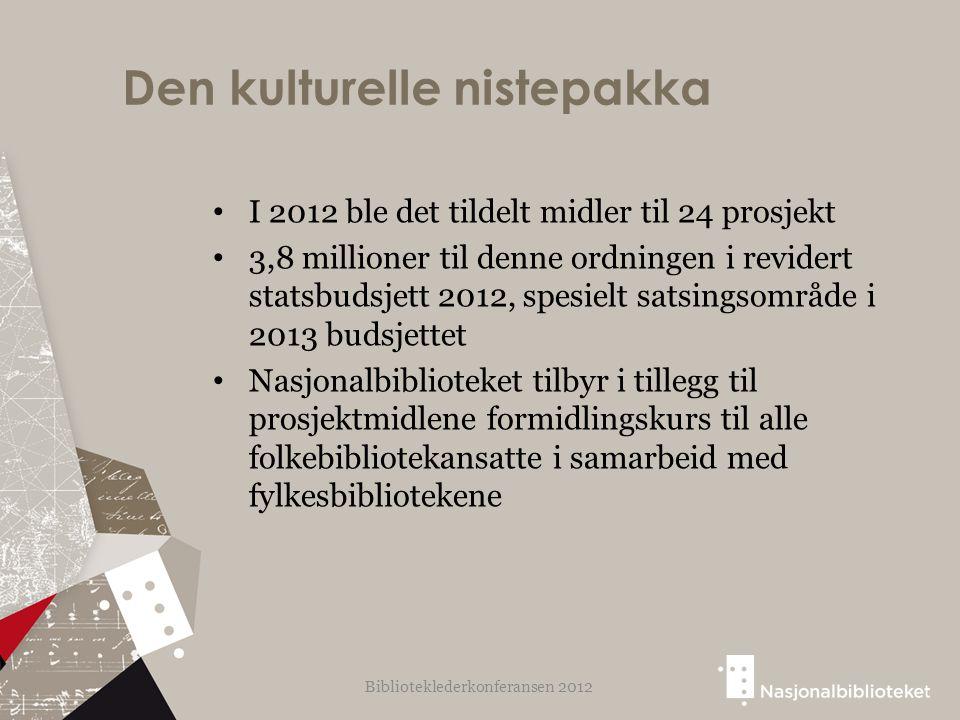 Den kulturelle nistepakka I 2012 ble det tildelt midler til 24 prosjekt 3,8 millioner til denne ordningen i revidert statsbudsjett 2012, spesielt sats