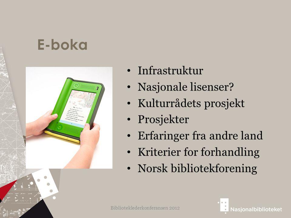 E-boka Infrastruktur Nasjonale lisenser? Kulturrådets prosjekt Prosjekter Erfaringer fra andre land Kriterier for forhandling Norsk bibliotekforening