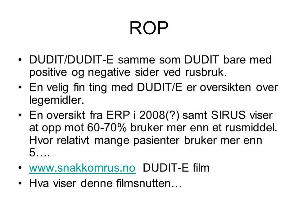 ROP DUDIT/DUDIT-E samme som DUDIT bare med positive og negative sider ved rusbruk. En velig fin ting med DUDIT/E er oversikten over legemidler. En ove