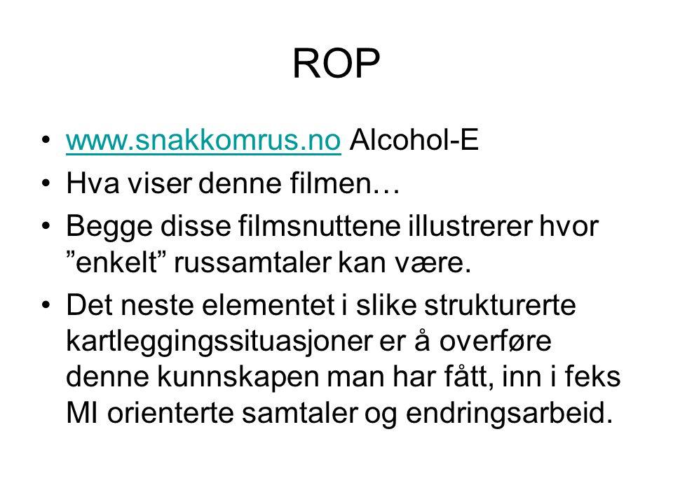 """ROP www.snakkomrus.no Alcohol-Ewww.snakkomrus.no Hva viser denne filmen… Begge disse filmsnuttene illustrerer hvor """"enkelt"""" russamtaler kan være. Det"""