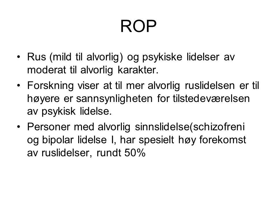 ROP Rus (mild til alvorlig) og psykiske lidelser av moderat til alvorlig karakter. Forskning viser at til mer alvorlig ruslidelsen er til høyere er sa