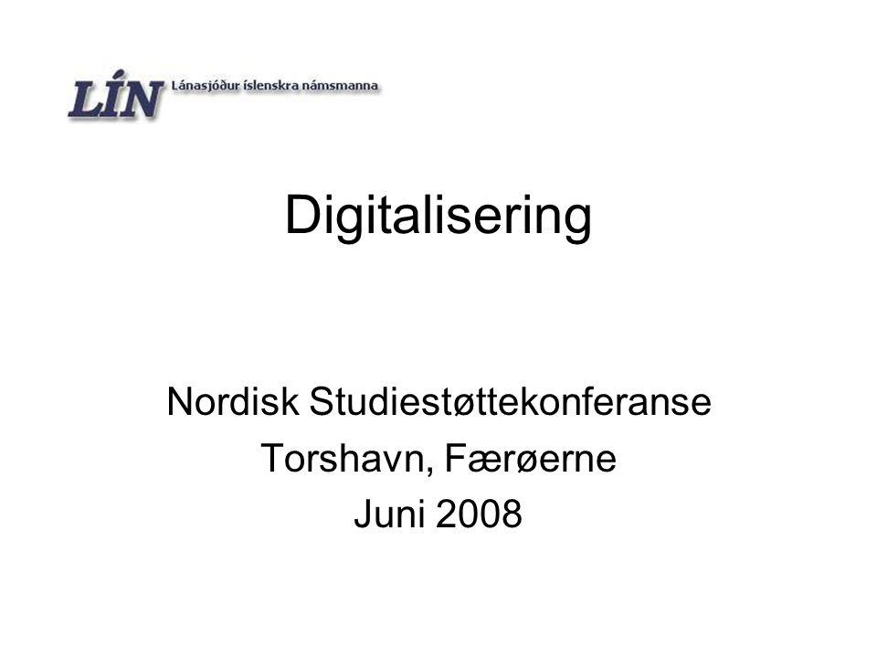 LÍN - Digitalisering2 Historie 1961 – LÍN (Lánasjóður íslenskra námsmanna – Lånefond for islandske studenter) etableres 1974 – Digitalisering begynner, IBM Island digitaliserer søknader 1977-1983 – System for utbetaling og tilbakebetaling, samarbeide med SKÝRR