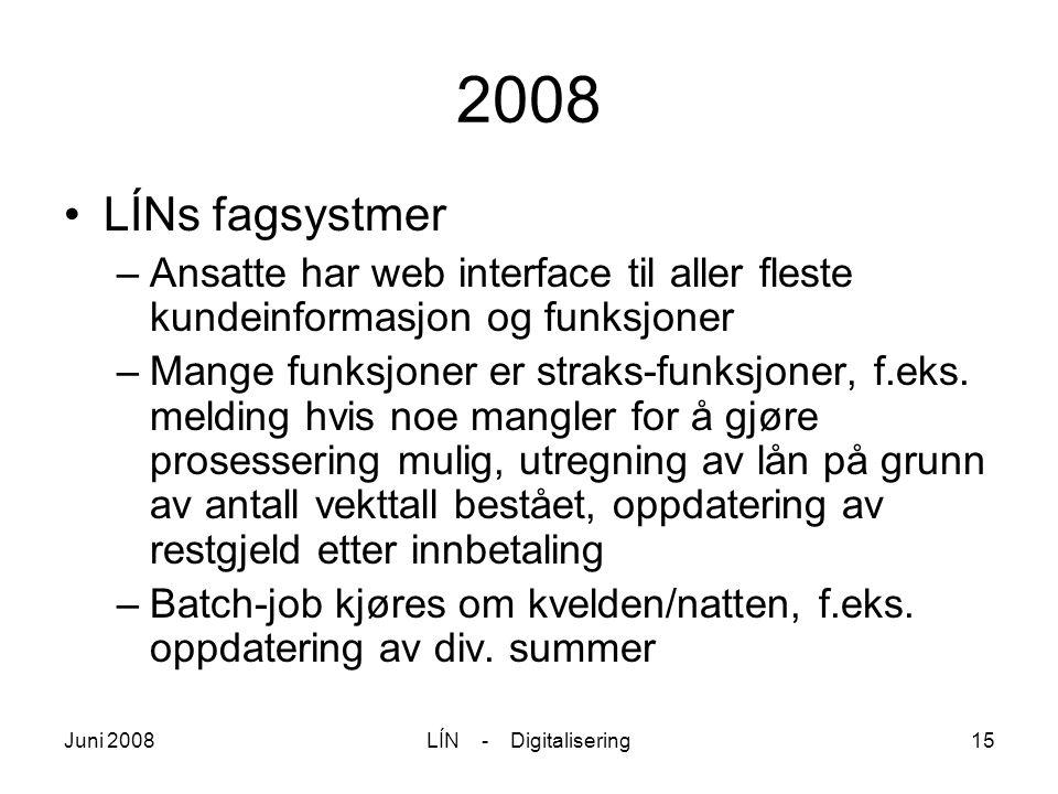 Juni 2008LÍN - Digitalisering15 2008 LÍNs fagsystmer –Ansatte har web interface til aller fleste kundeinformasjon og funksjoner –Mange funksjoner er s