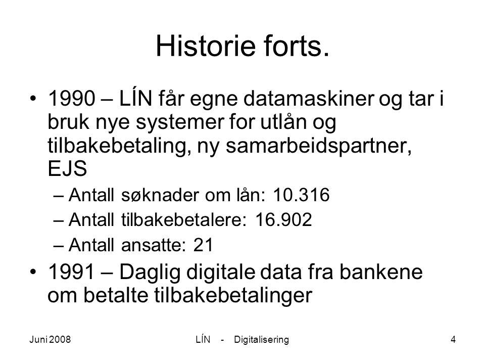 Juni 2008LÍN - Digitalisering4 Historie forts. 1990 – LÍN får egne datamaskiner og tar i bruk nye systemer for utlån og tilbakebetaling, ny samarbeids