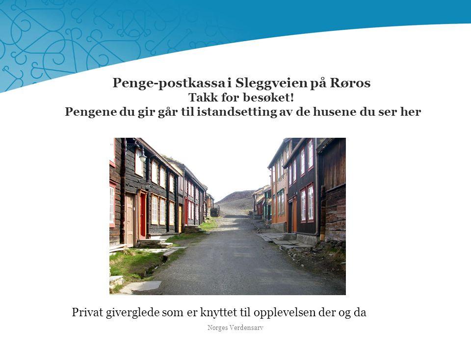 Penge-postkassa i Sleggveien på Røros Takk for besøket! Pengene du gir går til istandsetting av de husene du ser her Norges Verdensarv Privat givergle