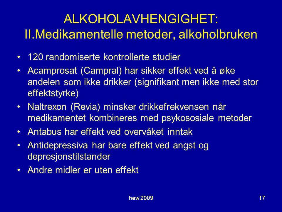 hew 200917 ALKOHOLAVHENGIGHET: II.Medikamentelle metoder, alkoholbruken 120 randomiserte kontrollerte studier Acamprosat (Campral) har sikker effekt ved å øke andelen som ikke drikker (signifikant men ikke med stor effektstyrke) Naltrexon (Revia) minsker drikkefrekvensen når medikamentet kombineres med psykososiale metoder Antabus har effekt ved overvåket inntak Antidepressiva har bare effekt ved angst og depresjonstilstander Andre midler er uten effekt