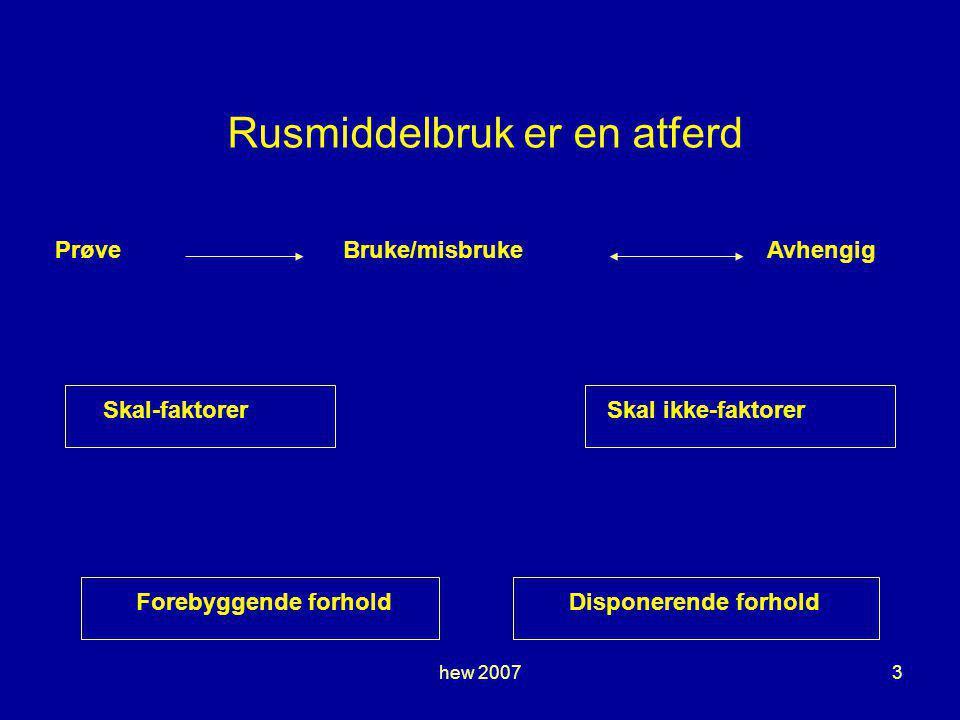 hew 20073 Rusmiddelbruk er en atferd PrøveBruke/misbrukeAvhengig Skal-faktorerSkal ikke-faktorerForebyggende forholdDisponerende forhold