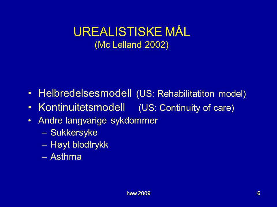 hew 20096 UREALISTISKE MÅL (Mc Lelland 2002) Helbredelsesmodell (US: Rehabilitatiton model) Kontinuitetsmodell (US: Continuity of care) Andre langvarige sykdommer –Sukkersyke –Høyt blodtrykk –Asthma