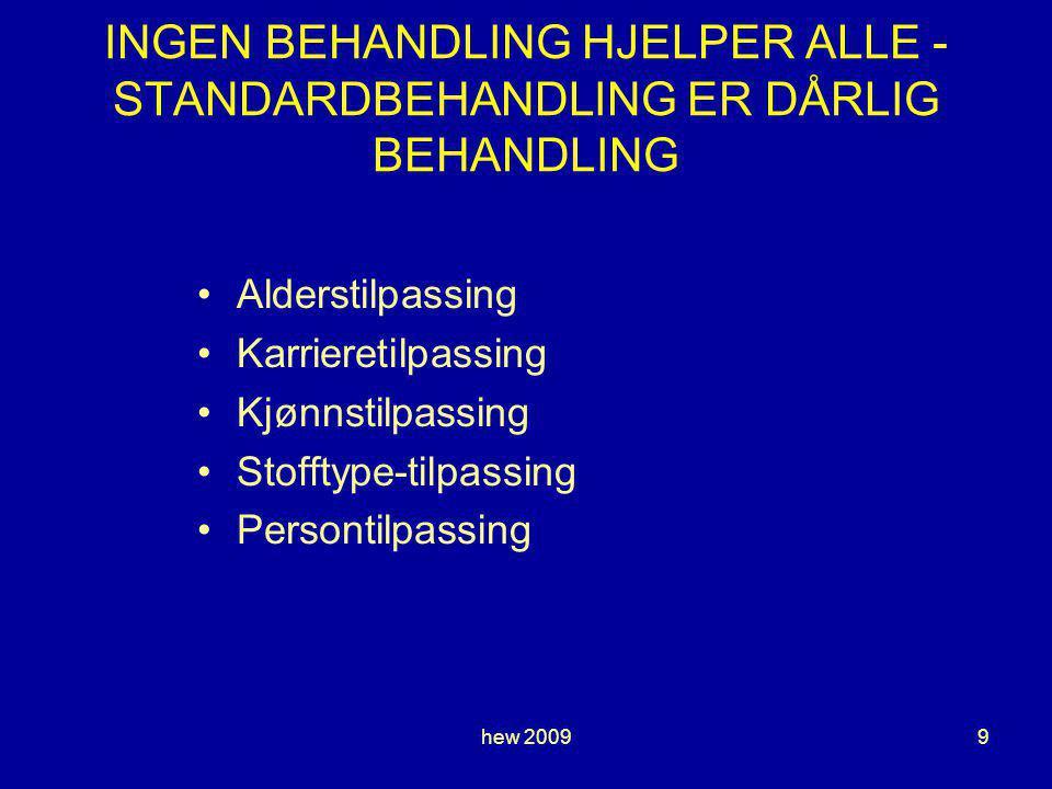 hew 20099 INGEN BEHANDLING HJELPER ALLE - STANDARDBEHANDLING ER DÅRLIG BEHANDLING Alderstilpassing Karrieretilpassing Kjønnstilpassing Stofftype-tilpassing Persontilpassing