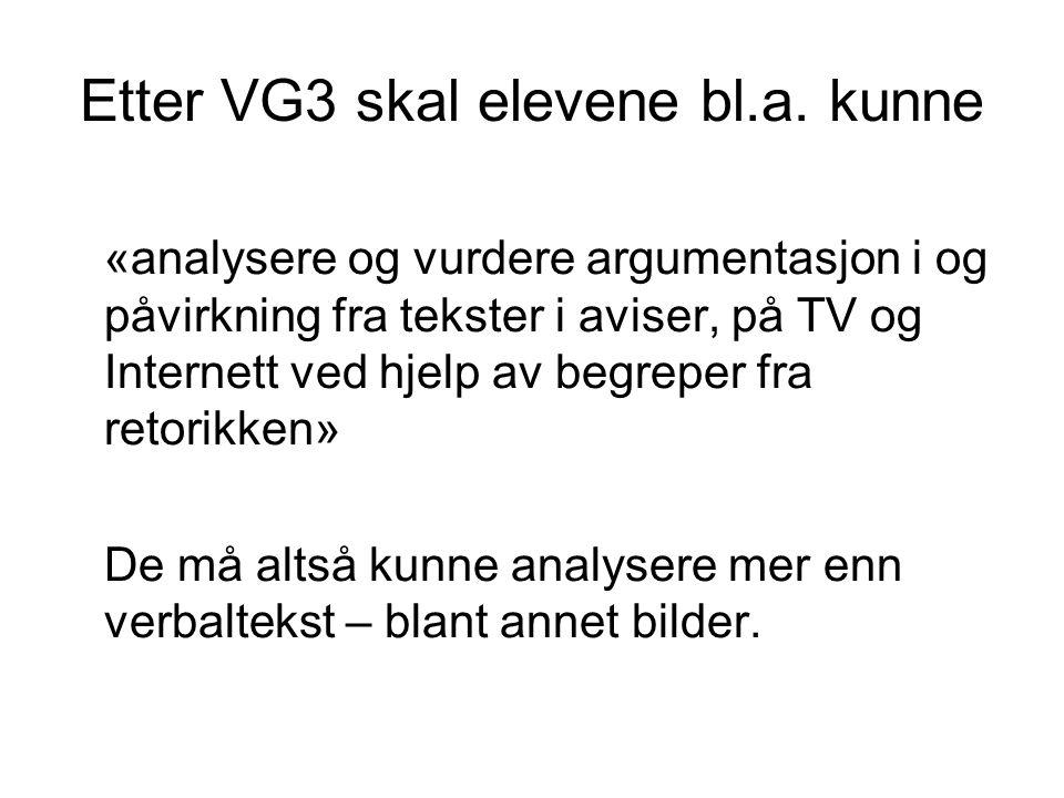 Etter VG3 skal elevene bl.a. kunne «analysere og vurdere argumentasjon i og påvirkning fra tekster i aviser, på TV og Internett ved hjelp av begreper